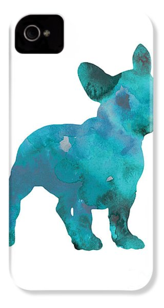 Teal Frenchie Abstract Painting IPhone 4 / 4s Case by Joanna Szmerdt
