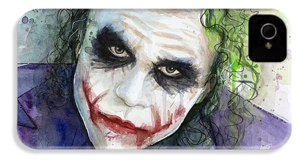 The Joker Watercolor IPhone 4 / 4s Case by Olga Shvartsur