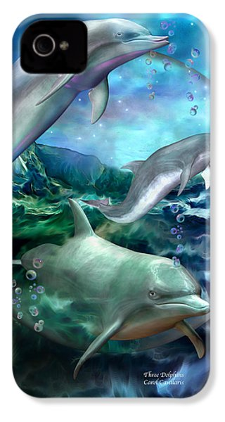 Three Dolphins IPhone 4 / 4s Case by Carol Cavalaris