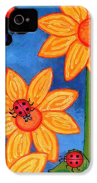 Three Ladybugs And Butterfly IPhone 4 / 4s Case by Genevieve Esson