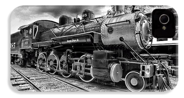Train - Steam Engine Locomotive 385 In Black And White IPhone 4 / 4s Case by Paul Ward