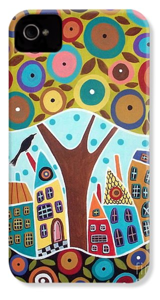 Tree Eight Houses And A Bird IPhone 4 / 4s Case by Karla Gerard