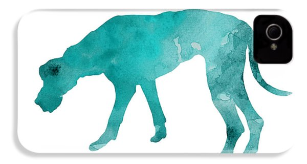 Turquoise Great Dane Watercolor Art Print Paitning IPhone 4 / 4s Case by Joanna Szmerdt