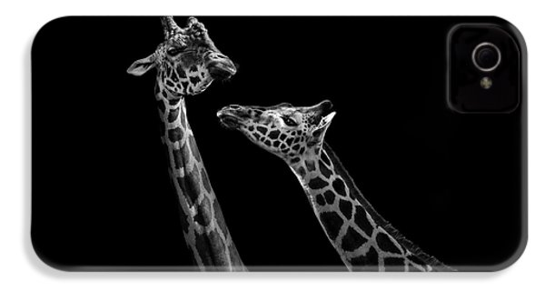 Two Giraffes In Black And White IPhone 4 / 4s Case by Lukas Holas