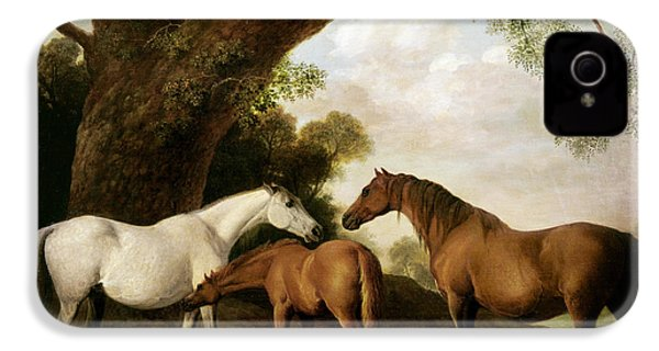 Two Mares And A Foal IPhone 4 / 4s Case by George Stubbs