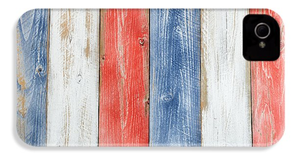 Vertical Stressed Boards Painted In Usa National Colors IPhone 4 / 4s Case by Thomas Baker
