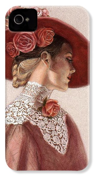 Victorian Lady In A Rose Hat IPhone 4 / 4s Case by Sue Halstenberg