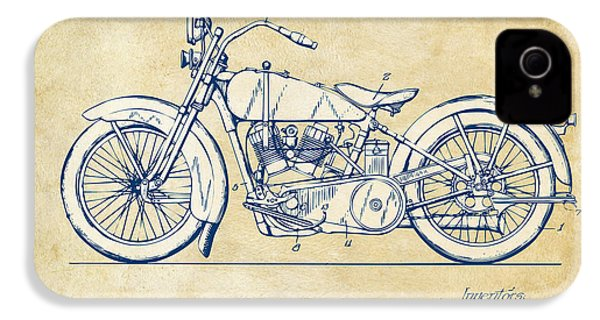 Vintage Harley-davidson Motorcycle 1928 Patent Artwork IPhone 4 / 4s Case by Nikki Smith
