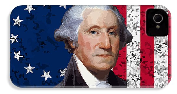 Washington And The American Flag IPhone 4 / 4s Case by War Is Hell Store