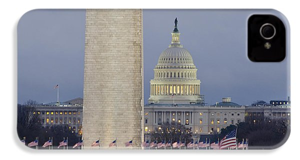 Washington Monument And United States Capitol Buildings - Washington Dc IPhone 4 / 4s Case by Brendan Reals