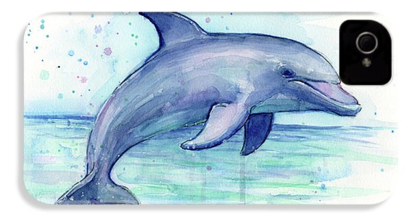 Watercolor Dolphin Painting - Facing Right IPhone 4 / 4s Case by Olga Shvartsur