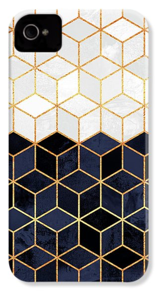 White And Navy Cubes IPhone 4 / 4s Case by Elisabeth Fredriksson