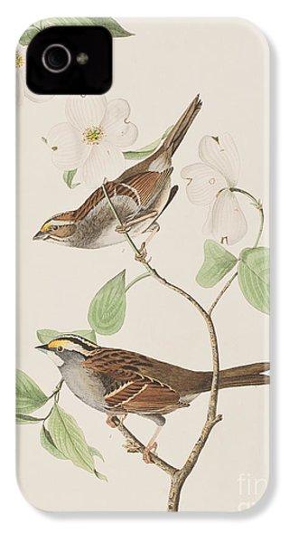 White Throated Sparrow IPhone 4 / 4s Case by John James Audubon