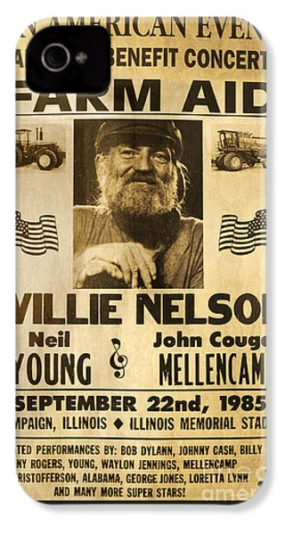 Willie Nelson Neil Young 1985 Farm Aid Poster IPhone 4 / 4s Case by John Stephens