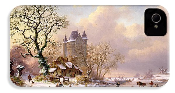 Winter Landscape With Castle IPhone 4 / 4s Case by Frederick Marianus Kruseman