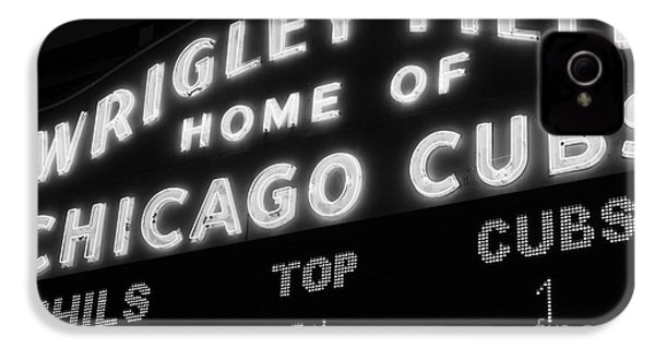 Wrigley Field Sign Black And White Picture IPhone 4 / 4s Case by Paul Velgos