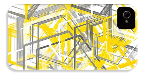 Yellow And Gray Geometric Shapes Art IPhone 4 / 4s Case by Lourry Legarde