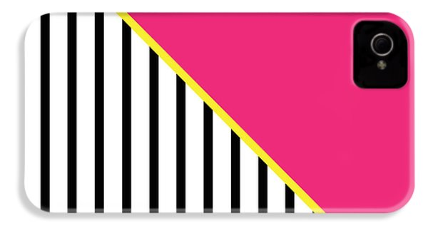 Yellow Pink And Black Geometric 2 IPhone 4 / 4s Case by Linda Woods