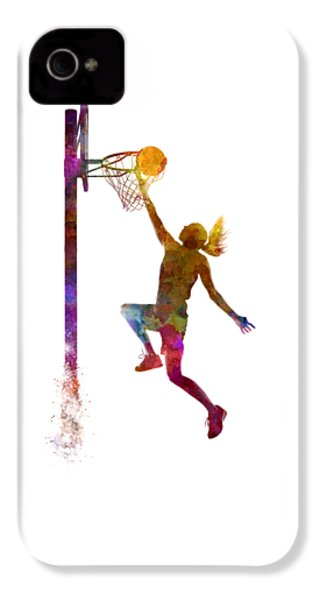 Young Woman Basketball Player 04 In Watercolor IPhone 4 / 4s Case by Pablo Romero
