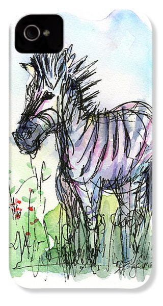 Zebra Painting Watercolor Sketch IPhone 4 / 4s Case by Olga Shvartsur