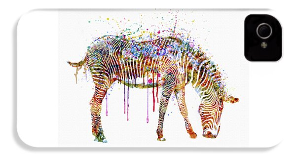 Zebra Watercolor Painting IPhone 4 / 4s Case by Marian Voicu