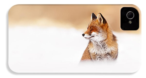 Zen Fox Series - Zen Fox In Winter Mood IPhone 4 / 4s Case by Roeselien Raimond
