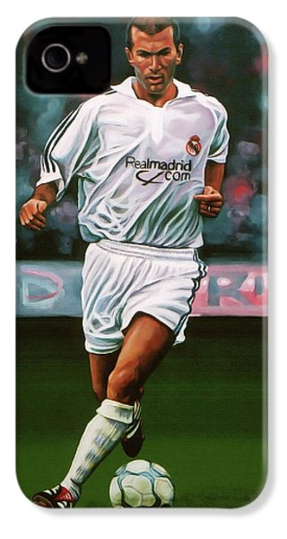 Zidane At Real Madrid Painting IPhone 4 / 4s Case by Paul Meijering