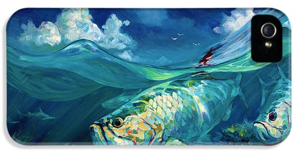 A Place I'd Rather Be - Caribbean Tarpon Fish Fly Fishing Painting IPhone 5 / 5s Case by Savlen Art