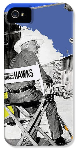 Howard Hawks iPhone 5 Cases -  Angie Dickinson and Howard Hawks publicity photo Rio Bravo set  Old Tucson Arizona 1959 iPhone 5 Case by David Lee Guss