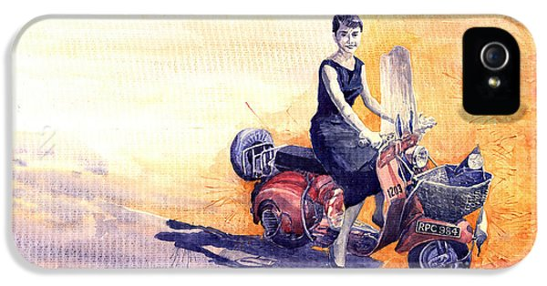 Audrey Hepburn And Vespa In Roma Holidey  IPhone 5 / 5s Case by Yuriy  Shevchuk