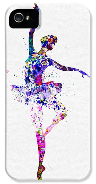 Theater iPhone 5 Cases -  Ballerina Dancing Watercolor 2 iPhone 5 Case by Naxart Studio