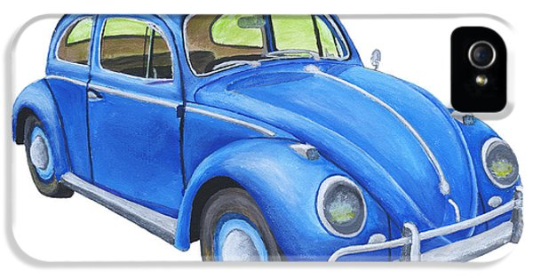 Bug iPhone 5 Cases -  Blue Volkswagon Beetle Painting iPhone 5 Case by Keith Webber Jr