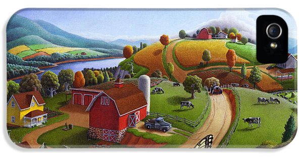 Summertime iPhone 5 Cases -  Folk Art Blackberry Patch Rural Country Farm Landscape Painting - Blackberries Rustic Americana iPhone 5 Case by Walt Curlee