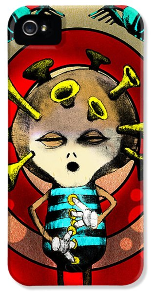 Cartooning iPhone 5 Cases -  Jazzplayer iPhone 5 Case by Johan Lilja