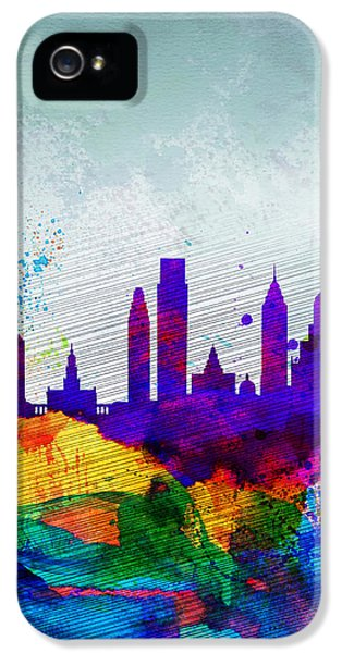 Philadelphia iPhone 5 Cases -  Philadelphia Watercolor Skyline iPhone 5 Case by Naxart Studio