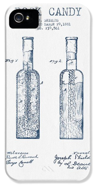Candy iPhone 5 Cases -  Rock Candy  Patent Drawing from 1881 - Blue Ink iPhone 5 Case by Aged Pixel