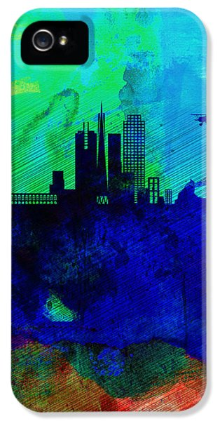 Capital iPhone 5 Cases -  San Francisco Watercolor Skyline 2 iPhone 5 Case by Naxart Studio