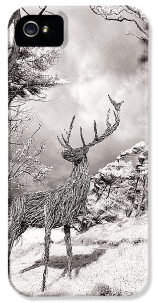 Infrared iPhone 5 Cases -  Stag Sculpture Isle of Mull iPhone 5 Case by Janet Burdon