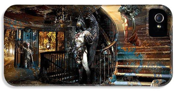 Grim Reaper iPhone 5 Cases - Stairway to Heaven vs. Stairwell to Hell iPhone 5 Case by George Grie