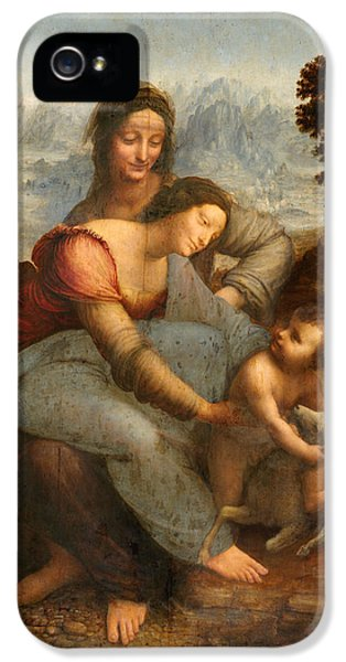 Jesus Smiling iPhone 5 Cases -  The Virgin and Child with St. Anne iPhone 5 Case by Leonardo Da Vinci