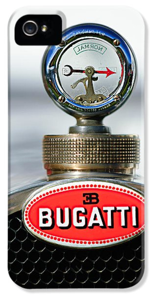 Bugatti Classic Car iPhone 5 Cases - 1928 Bugatti Type 44 Cabriolet Hood Ornament - Emblem iPhone 5 Case by Jill Reger