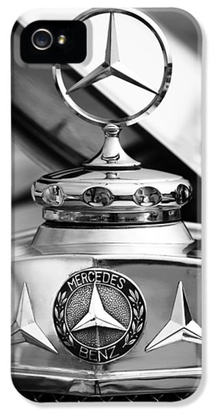 1929 Roadster iPhone 5 Cases - 1929 Mercedes-Benz SS Barker Roadster Hood Ornament - Emblem iPhone 5 Case by Jill Reger