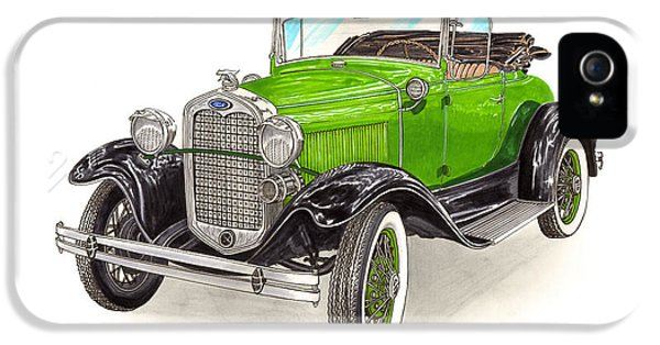 1931 Roadster iPhone 5 Cases - 1931 Ford Model A Roadster iPhone 5 Case by Jack Pumphrey