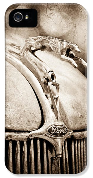 1936 iPhone 5 Cases - 1936 Ford Cabriolet Hood Ornament iPhone 5 Case by Jill Reger