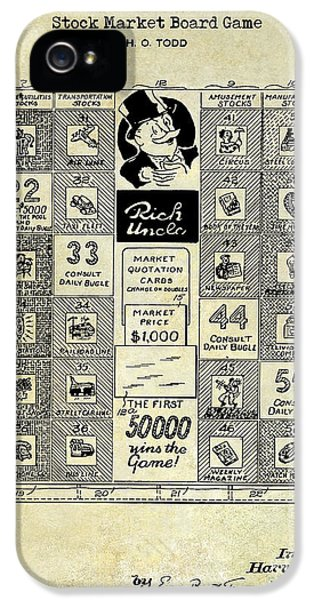 Monopoly iPhone 5 Cases - 1950 Stock Market Game Patent Drawing Blue iPhone 5 Case by Jon Neidert