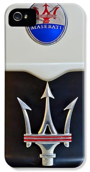Car iPhone 5 Cases - 2005 Maserati MC12 Hood Emblem iPhone 5 Case by Jill Reger