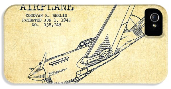 Airplane iPhone 5 Cases - Airplane patent Drawing from 1943-Vintage iPhone 5 Case by Aged Pixel