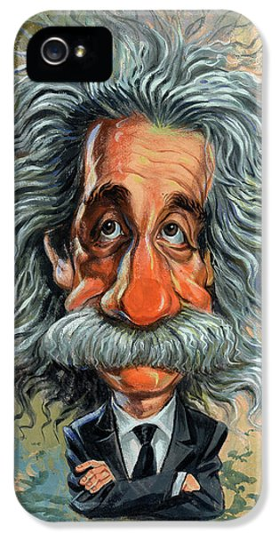 Famous People iPhone 5 Cases - Albert Einstein iPhone 5 Case by Art
