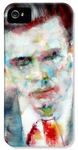 Aldous Huxley - Watercolor Portrait IPhone 5 / 5s Case by Fabrizio Cassetta