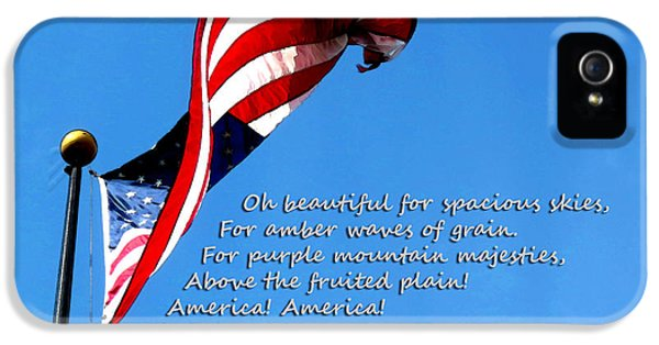 Us Flag iPhone 5 Cases - America The Beautiful - US Flag By Sharon Cummings Song Lyrics iPhone 5 Case by Sharon Cummings